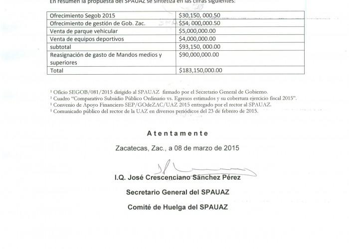 Oficio 09 de Marzo 2015 SPAUAZ a Rector 2 de 2