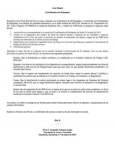 Acta de Asamblea 7 Mayo