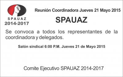 Reunion de Coordinadora 21 de Mayo 2015